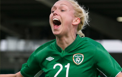 Stephanie Roche celebrating in an Ireland shirt. Credit: Ian Anderson/Sportsfile.